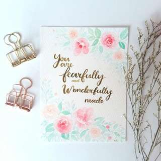 Watercolour Floral Card (You Are Fearfully And Wonderfully Made)