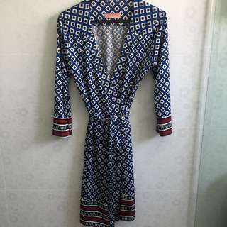 Ministry of Retail printed blue Wrap Dress