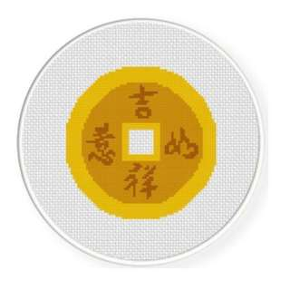 PDF format cross stitch chart Chinese Lucky Coin