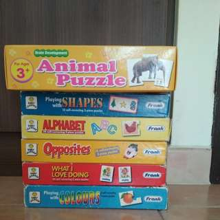 Preloved early learners puzzles . Numbers, color, opposite, shapes animals $3 each box. Complete set , no missing parts