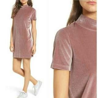 MADEWELL Soft Pink Velvet Mini Dress