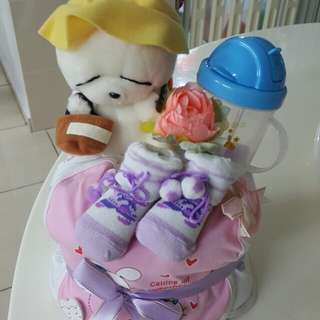 Diaper cake (for baby girl with doll) - COD