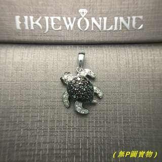 14K 白金 黑鑽 小海龜 吊咀