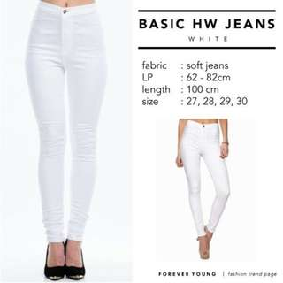 Celana Highwaist jeans putih