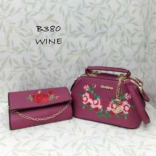 Sembonia Satchel Bag 2 in 1 with Floral Sling Bag Wine Color