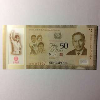 50BC095857 Singapore Commemorative SG50 $50 note.