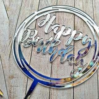 Happy Birthday Topper (black/silver/gold) acrylic