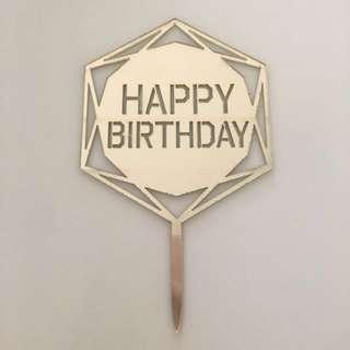 Happy Birthday Topper /gold acrylic