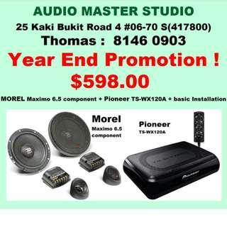 Promotion morel speaker & pioneer woofer @$598 with basic installation.