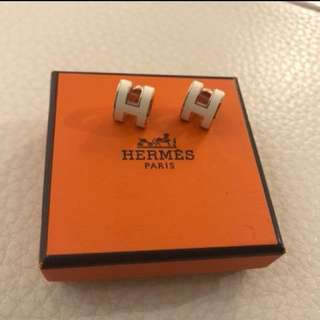 Hermes earrings Pop H 耳環 Off White/Rose Gold 經典百搭