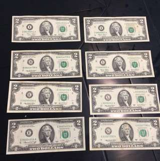 Limited & Rare US 2 Dollars Note USD2 (1976 or 1995 or 2003) Each is RM150
