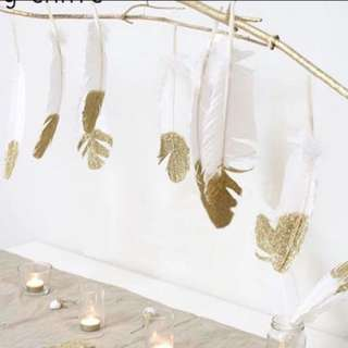 Gold feather Bunting garland