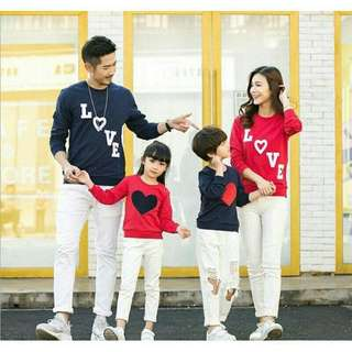 Sweater Couple Keluarga / Baju Couple Keluarga / Family Couple Love Tangga 2 Anak