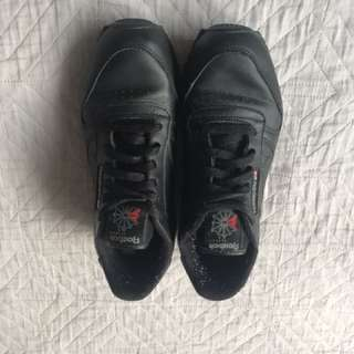 Black leather Reebok classics