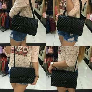 Chanel Chevron Flap Bag So Black