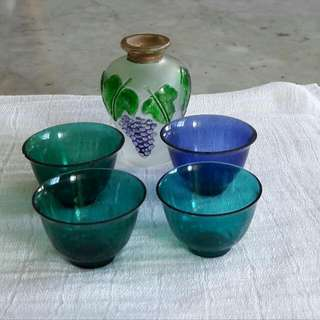 Vintage Glass T Cups N Vase