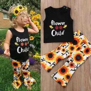 Sunflower Pants Black Top 2pcs Set