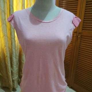 Atasan pink strips MANGO BASIC