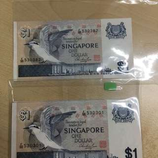 Bird series $1 Singapore notes with 81 pcs New with running number.