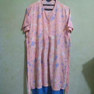Baju Hamil Soft Pink Motif Bunga