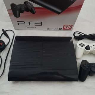 Playstation Superslim PS3 500GB with 2 Controllers and Free 14 Games