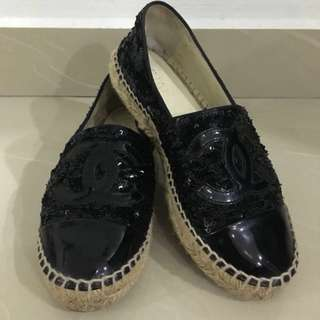 CHANEL Black Sequin Espadrille