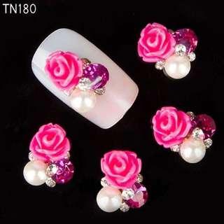 PO 2minggu sticker mawar 3D berlian imitasi nail art