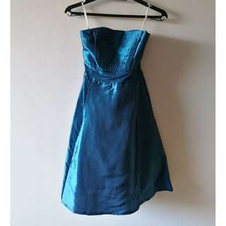 Strapless Pleated Blue Satin Dress Size S