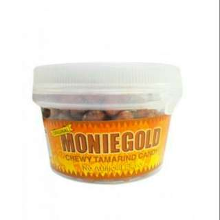 Moniegold Original Tamarind Candy in 80g. tubs and 50g. packets