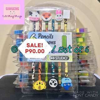 Pencil and Eraser Set of 6