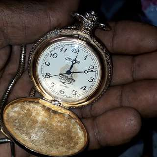 Vintage pocket watch mid 1900 design of Mecca with silver with chain beneath gold plated no dealer's pls