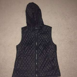 Faux Leather Hooded Vest