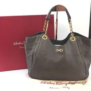 Salvatore Ferragamo Gancini Solf Chain Handle Tote