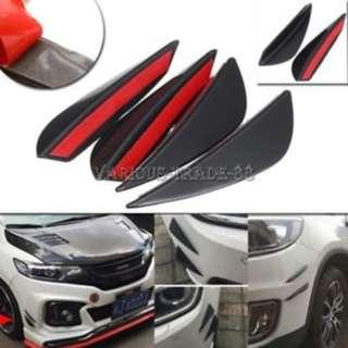 Car Bumper Fin Body Spoiler Canards Refit Kit Splitter Valence Lip (4 pieces)
