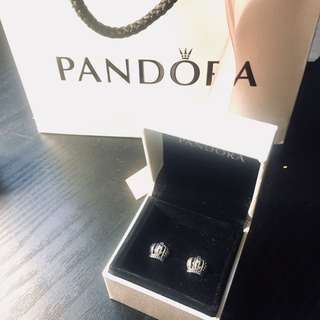 Discontinued Pandora Crown Earring Studs