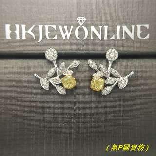 18K白金黃鑽耳環