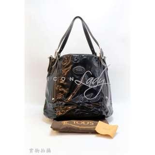 貨主降價 - TODS G-Line 黑色亮面帆布 (小號) 肩背袋 購物袋 手袋