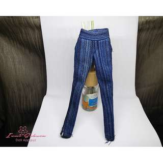 Striped Denim Pants with Pockets Barbie Pants
