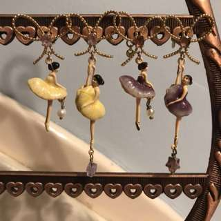 Original price HKD900, Les Nereides 黃色 紫色 不對稱 芭蕾女孩耳環耳針正品 ballerina Girl earrings