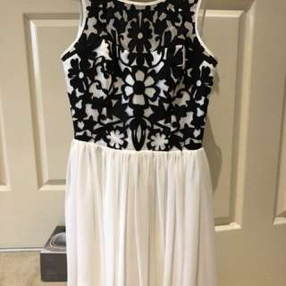 Black Detailed White Dress