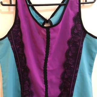 Blue green & violet lace top