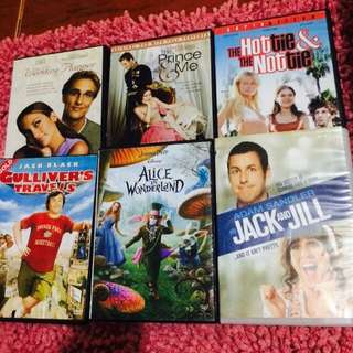 (SET) 6pcs DVD [Gulliver's Travel, Jack and Jill, Alice in Wonderland, The Hottie and the Nottie, The prince and me, The wedding Planner