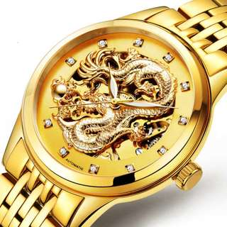 Vintage Gold Dragon Skeleton IPG Automatic Mechanical Men Watch