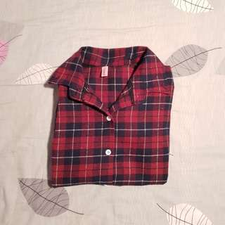 Oversized Checkered Plaid Shirt (Blue/Red)