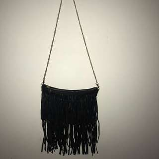 Frilly black bag
