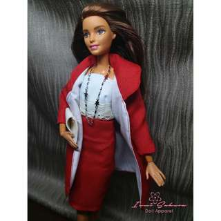 Apple Red Round Collar Coat Barbie Coat