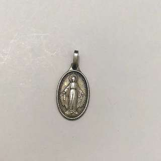 Oval Mary Silver Pendant