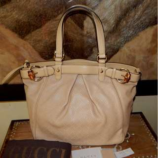 GUCCI beige diamante bamboo buckle bag (2012)