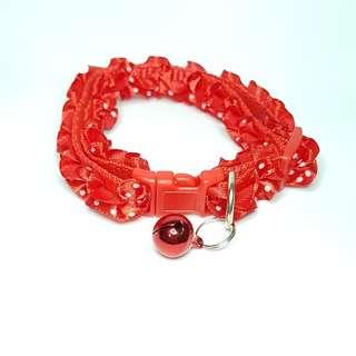 oui.abi [Free postage] pet dog cat rabbit ruffles collar - red