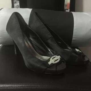 Black satin prom/wedding shoes
